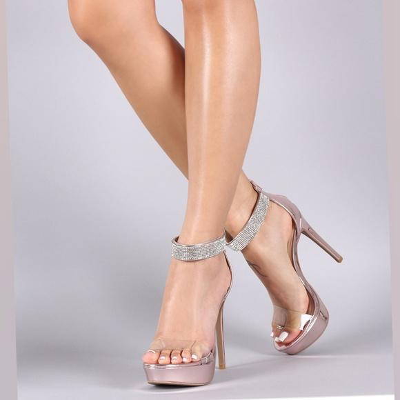 df5800d9d78 🎀SILVER Rhinestone Ankle Strap Stiletto Platform NWT